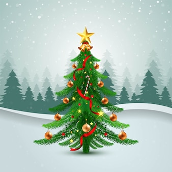 Tarjeta navideña de árbol de navidad decorado con fondo de onda