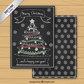 Tarjeta navideña de árbol de navidad en un estilo pizarra
