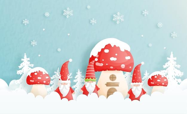 Tarjeta navideña con casa de setas y gnomos.