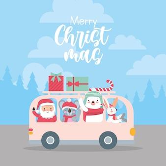 Tarjeta navideña con celebración de animales en el bus con regalos y dulces.