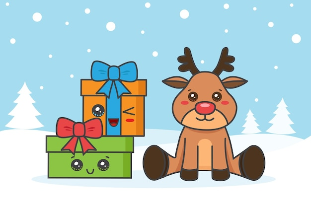 Tarjeta navideña con ciervos y gfits en la nieve.