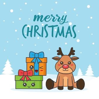 Tarjeta navideña con ciervos y regalos en la nieve.