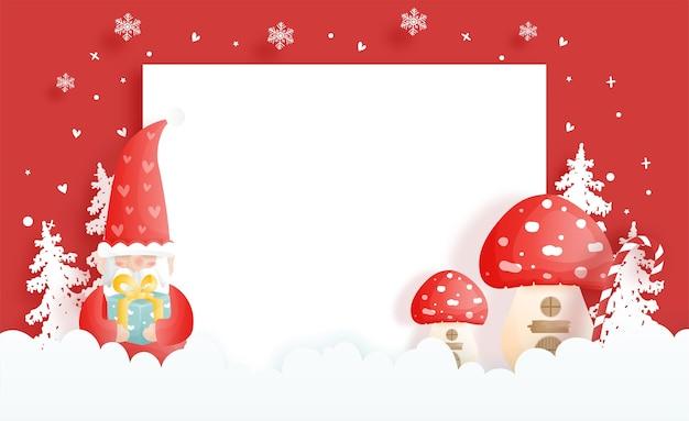 Tarjeta navideña con gnomos y setas