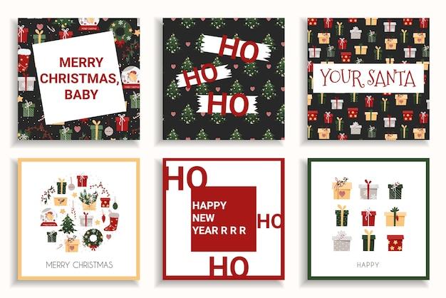 Tarjeta navideña con graciosas inscripciones.