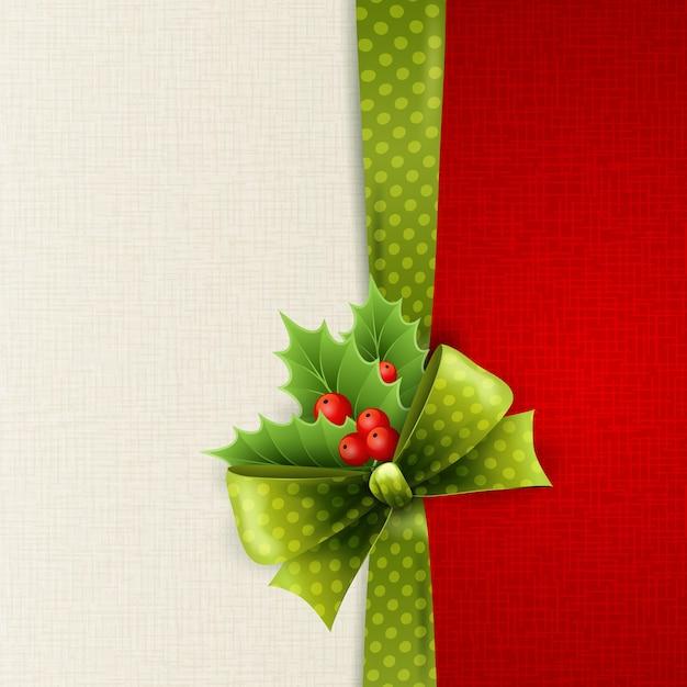 Tarjeta navideña con lazo de lunares verdes y acebo