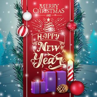 Tarjeta navideña con lazo rojo, regalos y vela.