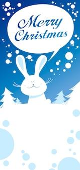 Tarjeta navideña con linda liebre