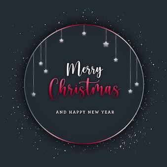 Tarjeta navideña marco circular con estrellas plateadas