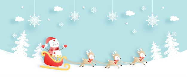 Tarjeta navideña con muñeco de nieve y renos.