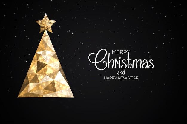 Tarjeta navideña navideña hecha de triángulos
