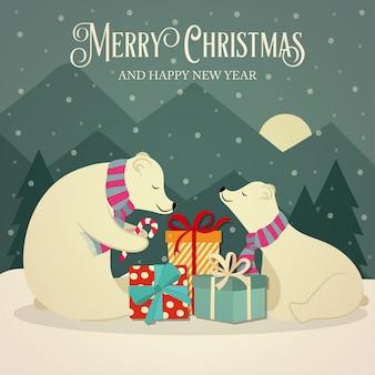 Tarjeta navideña retro con la familia de los osos polares y regalos.
