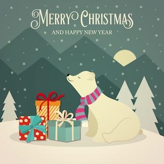 Tarjeta navideña retro con osos polares y regalos.