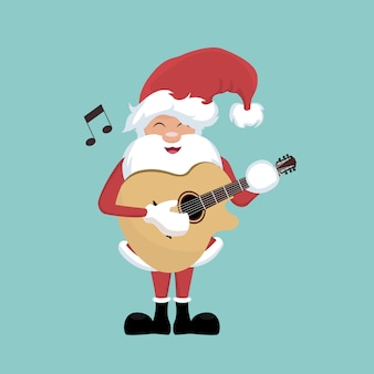 Tarjeta navideña de santa claus tocando la guitarra.