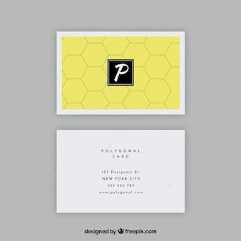 Tarjeta de negocios amarilla hexagonal