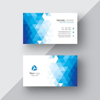 Tarjeta de negocios azul y blanca geométrica