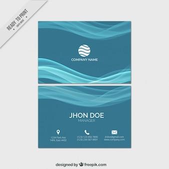 Tarjeta de negocios azules de ondas