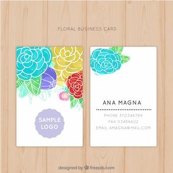 Tarjeta de negocios floral en acuarela