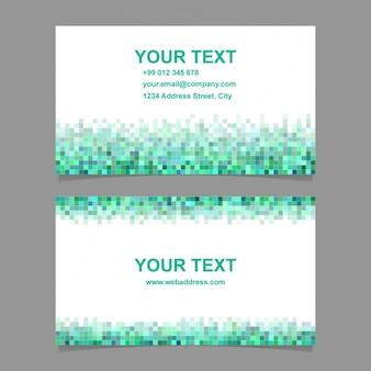 Tarjeta para negocios con formas pixeladas verdes y azules