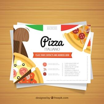 Tarjeta de negocios para restaurante de pizza con diseño plano