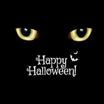 Tarjeta negra feliz halloween con ojos de gato