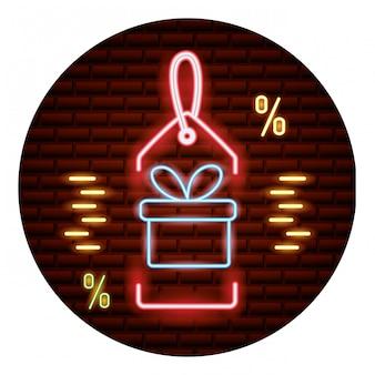 Tarjeta de neón de compras en línea