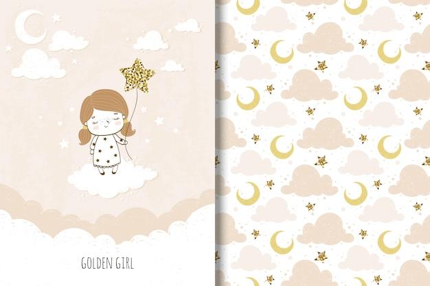 Tarjeta de niña dorada y patrones sin fisuras para niños