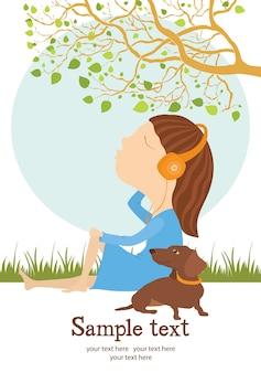 Tarjeta de niña y perro