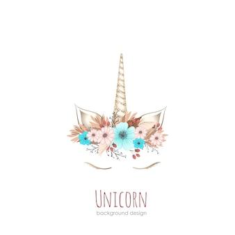 Tarjeta de niña unicornio / fondo en vector