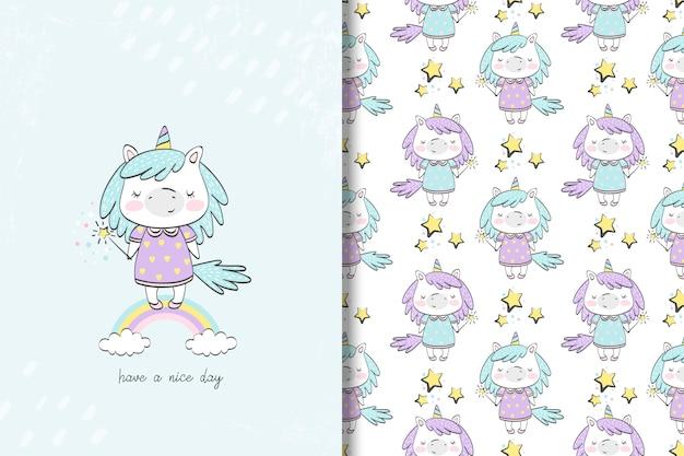 Tarjeta de niña unicornio y patrones sin fisuras
