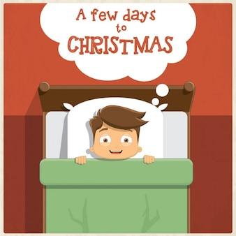 Tarjeta de niño esperando impaciente la navidad