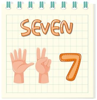 Tarjeta con el número siete