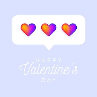 Tarjeta o folleto corazón del arco iris de san valentín como fondo de contador, seguidor de comentarios y símbolo de notificación.