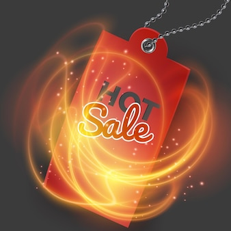Tarjeta de oferta caliente con fuego ardiente y etiqueta roja realista. gran venta.