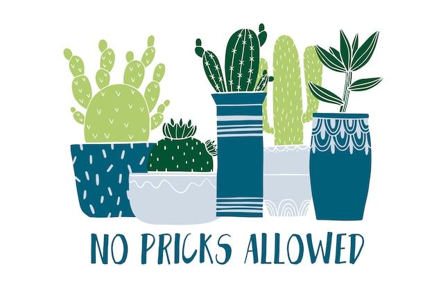 Tarjeta de olla de cactus y suculentas en estilo boceto.