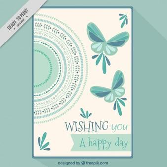 Tarjeta ornamental con mariposas en estilo vintage