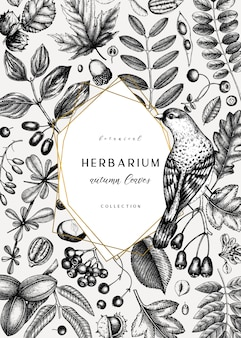 Tarjeta de otoño bosquejada a mano. plantilla botánica elegante con hojas de otoño, bayas, semillas y dibujos de aves. perfecto para invitaciones, tarjetas de felicitación, folletos, menús, etiquetas, envases.
