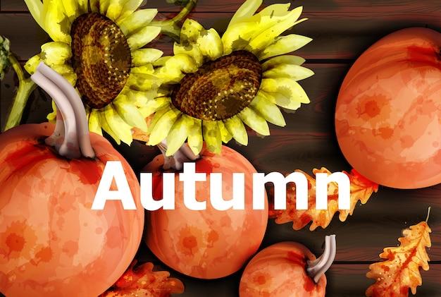 Tarjeta de otoño con calabazas y girasol