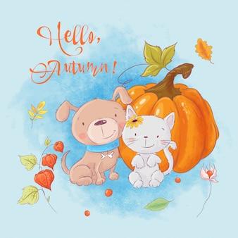 Tarjeta de otoño de dibujos animados lindo gato y perro con una calabaza