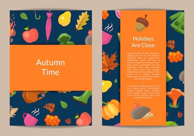 Tarjeta de otoño de dibujos animados o volante