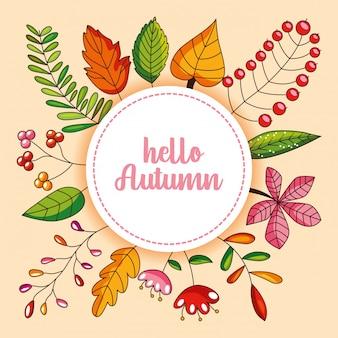 Tarjeta de otoño con hojas y flores.