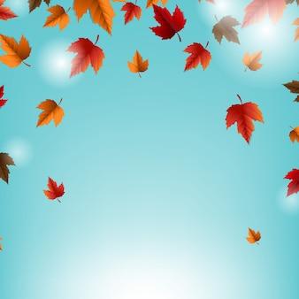 Tarjeta de otoño con hojas y fondo azul