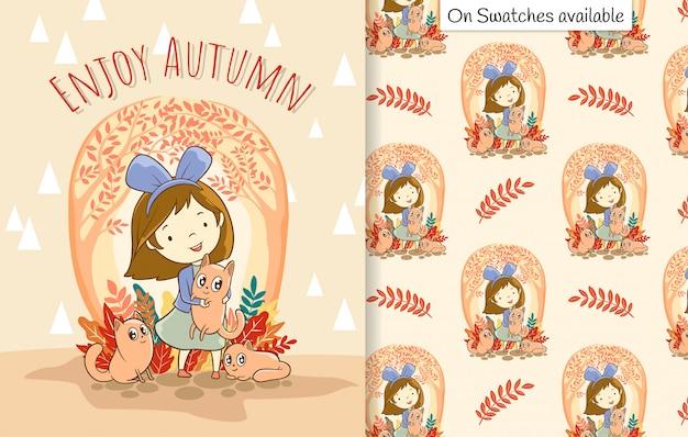 Tarjeta de otoño y patrones sin fisuras con una mano dibujada de feliz linda chica con tres gatos