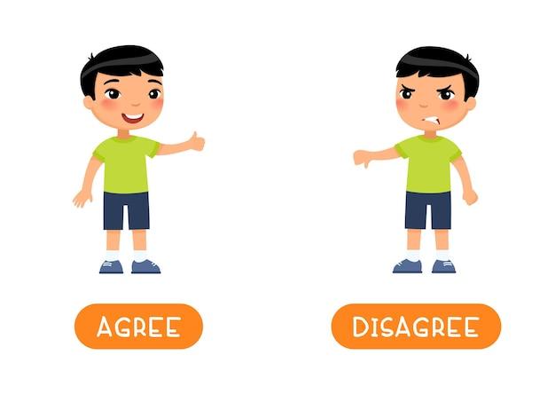 Tarjeta de palabra educativa con opuestos. concepto de antónimos, acuerdo y desacuerdo.
