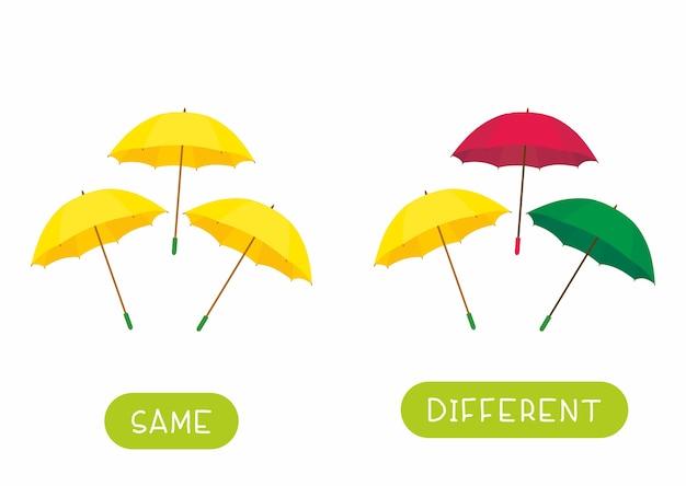 Tarjeta de palabra educativa para plantilla de niños. tarjeta flash para estudiar idiomas con paraguas. antónimos, concepto de diversidad. paraguas iguales y diferentes