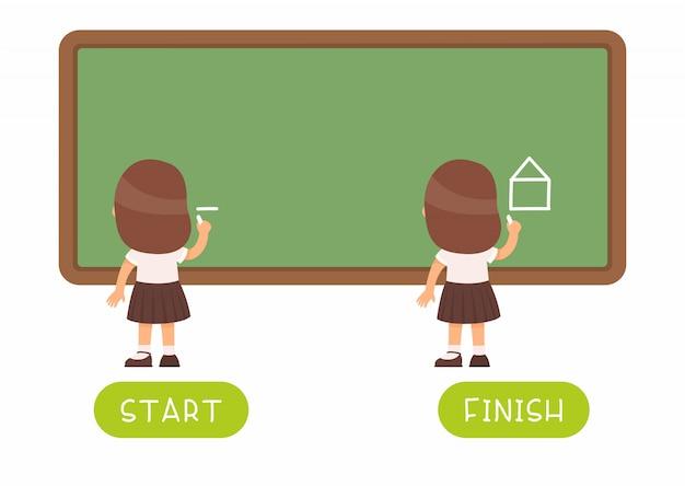 Tarjeta de palabra infantil con antónimos. tarjeta flash para idioma inglés con niño pequeño. concepto opuesto, inicio y finalización. colegiala dibujo en pizarra