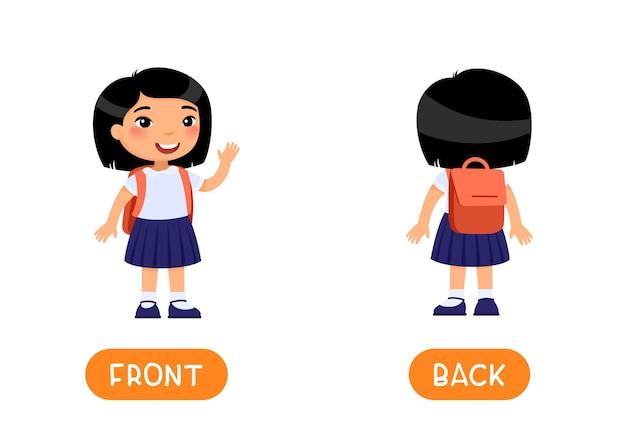 Tarjeta de palabras educativas con opuestos para el inglés que estudia el concepto de antónimos frente y atrás