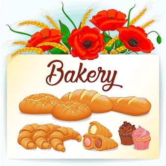 Tarjeta de panadería con amapolas y colección de pasteles.