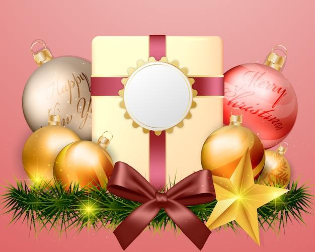 Tarjeta de pantalla vacía de oro con decoraciones de caja de regalo.