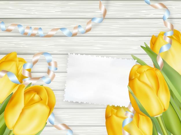 Tarjeta de papel con tulipanes.