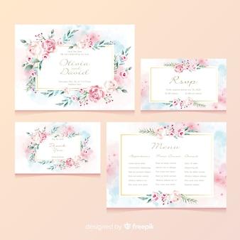 Tarjeta de papelería de boda floral